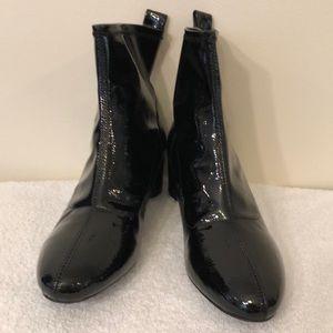 Just fab black patent booties /round 2 in. Heel.